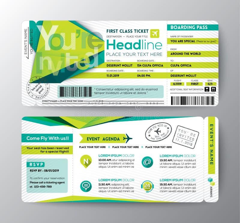 Το αφηρημένο εισιτήριο γεγονότος περασμάτων τροφής σχεδίου πολυγώνων προσκαλεί την κάρτα διανυσματική απεικόνιση