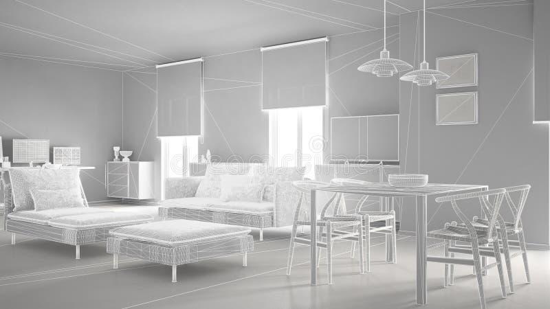Το αφηρημένο εσωτερικό σχέδιο αρχιτεκτονικής, σύγχρονο καθιστικό, wireframe highpoly παγιδεύει την κατασκευή, άσπρη απεικόνιση αποθεμάτων