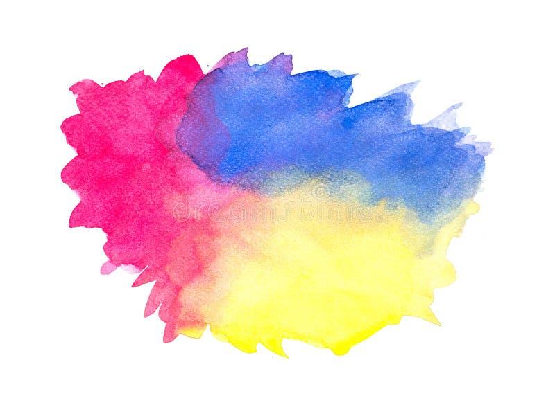 Το αφηρημένο ζωηρόχρωμο watercolor στο άσπρο υπόβαθρο, ζωηρόχρωμο ράντισμα watercolor σε χαρτί, αφαιρεί το χρωματισμένο σχέδιο απ ελεύθερη απεικόνιση δικαιώματος