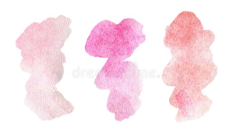 Το αφηρημένο κόκκινο ρόδινο πορφυρό χρώμα λεκιάζει τα υπόβαθρα καθορισμένα stract τους λεκέδες watercolor διανυσματική απεικόνιση