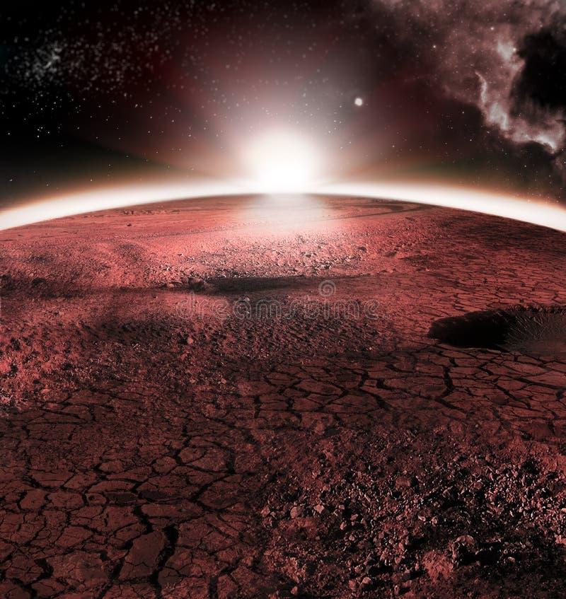 Το αφηρημένο κόκκινο τοπίο του πλανήτη του Άρη Μοιάζει με την κρύα έρημο στον Άρη Ένας τεράστιος τομέας του πάγου στοκ φωτογραφία με δικαίωμα ελεύθερης χρήσης