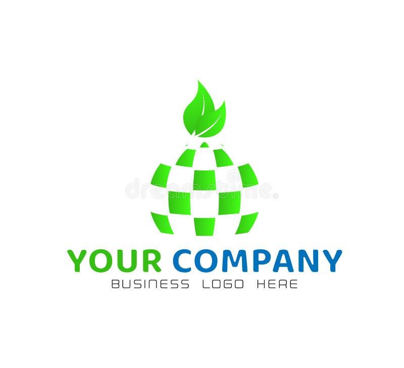 Το αφηρημένο λογότυπο σφαιρών με πράσινο βγάζει φύλλα, στοιχείο εικονιδίων στο άσπρο υπόβαθρο διανυσματική απεικόνιση