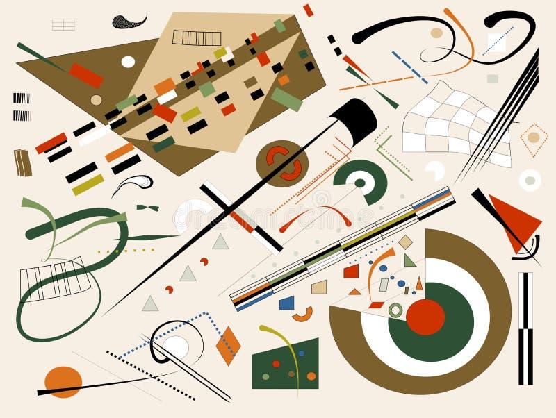 Το αφηρημένο μπεζ υπόβαθρο, φαντάζεται τις γεωμετρικές και κυρτές μορφές, expressionism ύφος -18-128 τέχνης ελεύθερη απεικόνιση δικαιώματος
