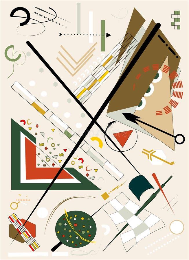 Το αφηρημένο μπεζ υπόβαθρο, φαντάζεται τις γεωμετρικές και κυρτές μορφές, expressionism αρθ. ύφος-18-154 απεικόνιση αποθεμάτων