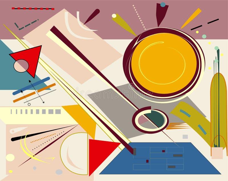 Το αφηρημένο μπεζ υπόβαθρο, φαντάζεται τις γεωμετρικές και κυρτές ζωηρόχρωμες μορφές, expressionism αρθ. ύφος-18-169 ελεύθερη απεικόνιση δικαιώματος