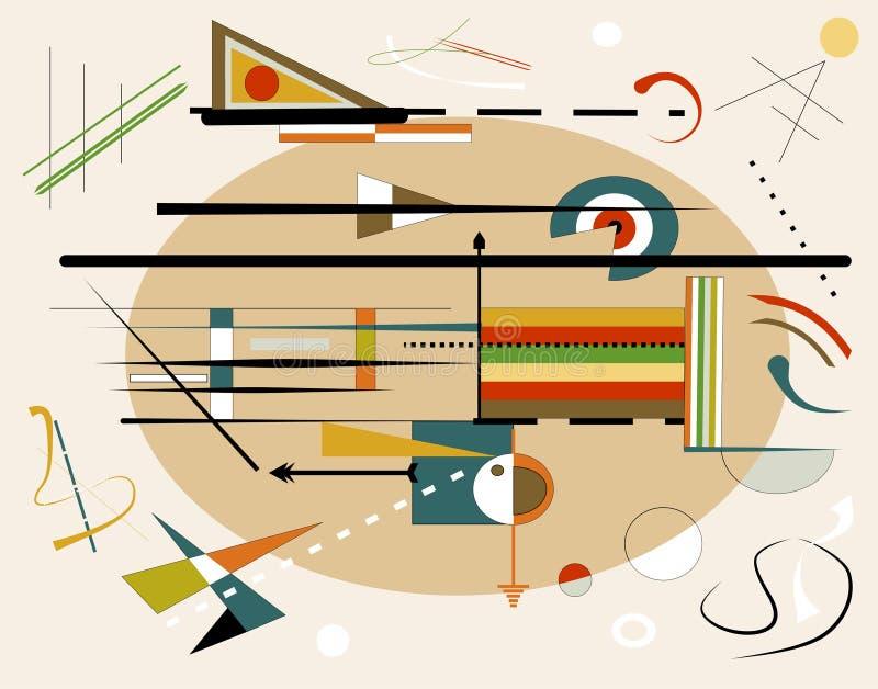 Το αφηρημένο μπεζ υπόβαθρο, φαντάζεται τις γεωμετρικές και κυρτές μορφές, expressionism τέχνη style18-178 ελεύθερη απεικόνιση δικαιώματος