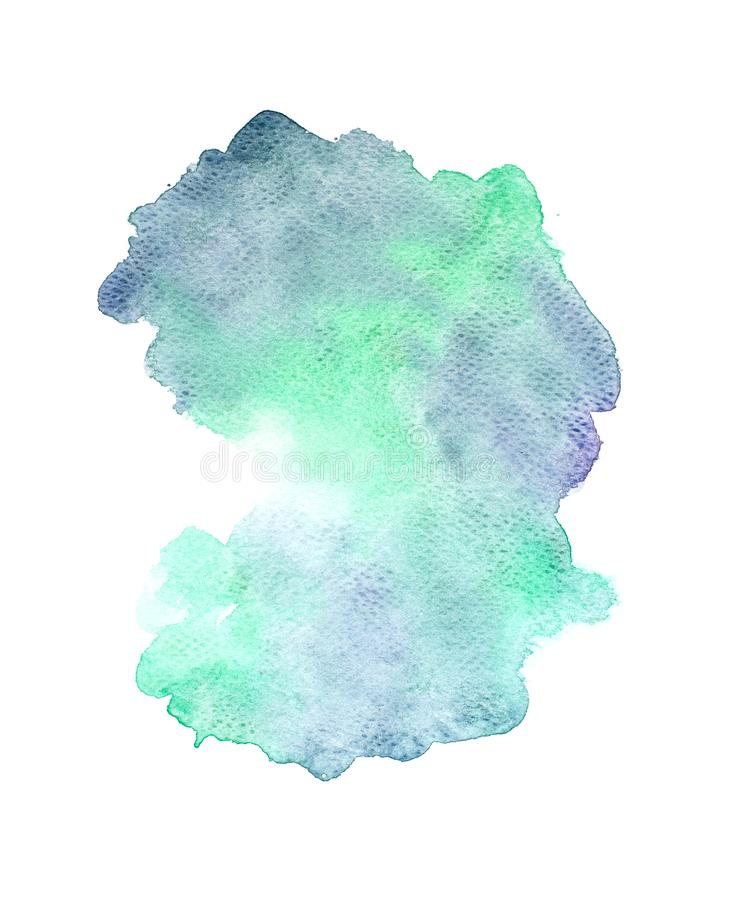 Το αφηρημένο πράσινο watercolor στο άσπρο υπόβαθρο, πράσινο ράντισμα watercolor σε χαρτί, αφαιρεί το χρωματισμένο σχέδιο απεικόνι απεικόνιση αποθεμάτων