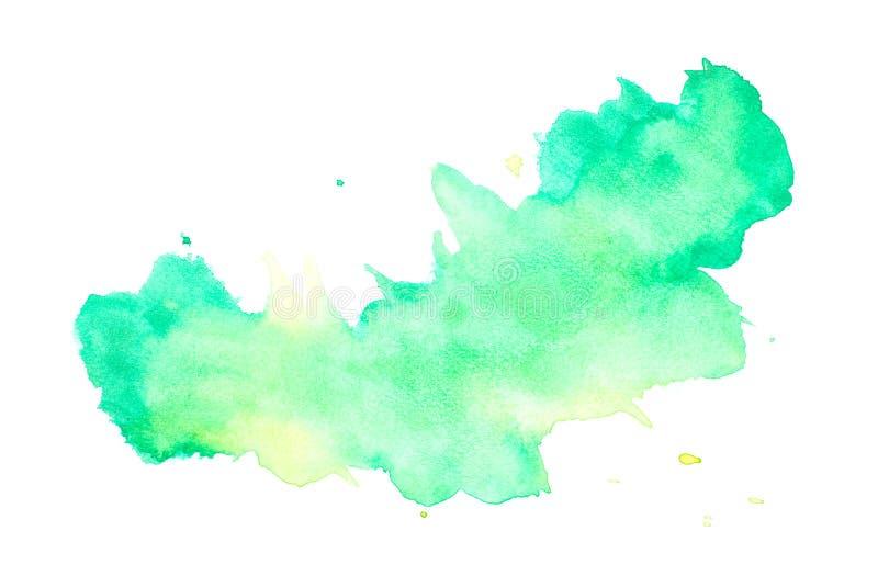 Το αφηρημένο πράσινο watercolor στο άσπρο υπόβαθρο, πράσινο ράντισμα watercolor σε χαρτί, αφαιρεί το χρωματισμένο σχέδιο απεικόνι διανυσματική απεικόνιση