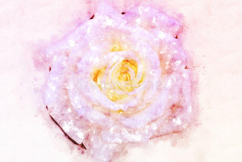 Το αφηρημένο ρόδινο λουλούδι που ανθίζουν στο ζωηρόχρωμο υπόβαθρο ζωγραφικής watercolor και η ψηφιακή απεικόνιση βουρτσίζουν στην στοκ εικόνα