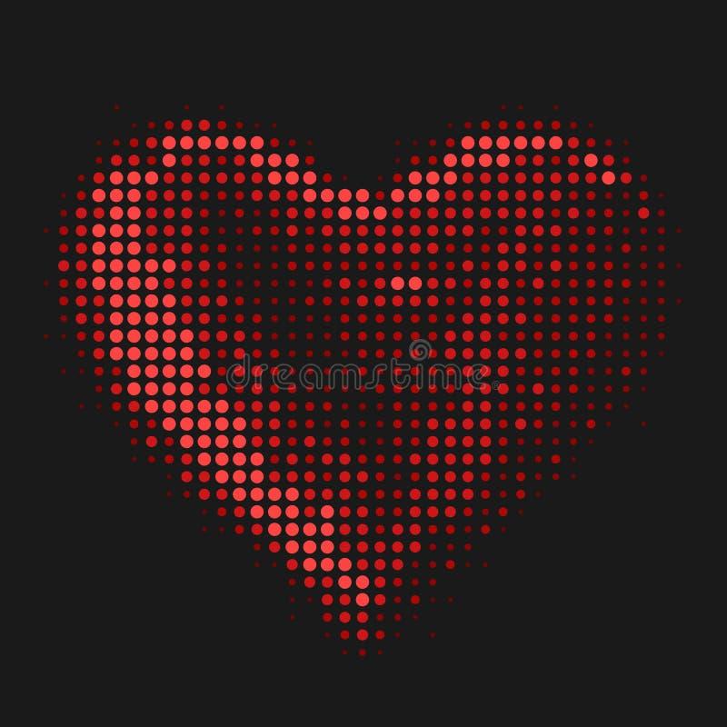 Το αφηρημένο σημάδι καρδιών απεικόνισης με τους κόκκινους χρωματισμένους κύκλους βράζει στο μαύρο διανυσματικό σχέδιο σύστασης υπ απεικόνιση αποθεμάτων