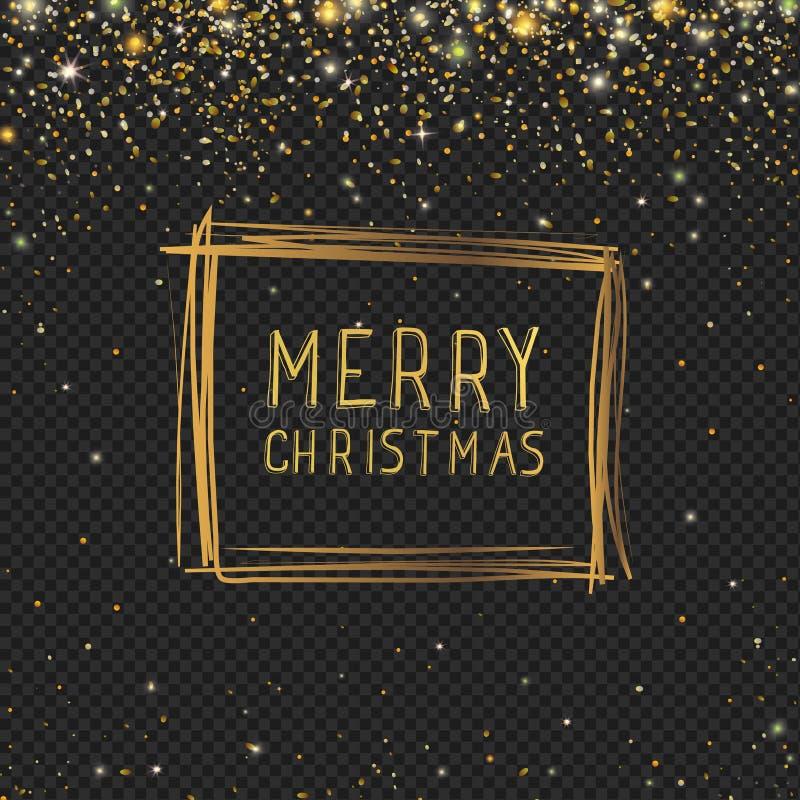 Το αφηρημένο συρμένο χέρι πλαίσιο Χριστουγέννων με χρυσό ακτινοβολεί αστέρια και λάμπει snowflakes στο μαύρο υπόβαθρο ελεύθερη απεικόνιση δικαιώματος