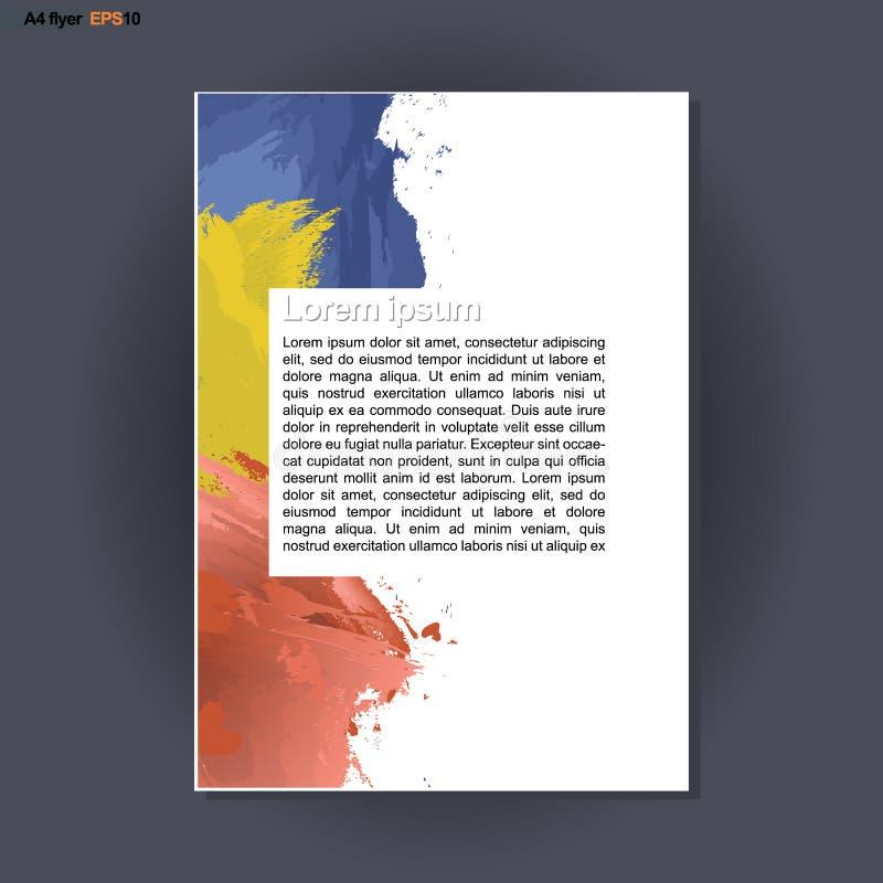 Το αφηρημένο σχέδιο τυπωμένων υλών A4 με την μπλε, κόκκινη και κίτρινη βούρτσα κτυπά, για τα ιπτάμενα, τα εμβλήματα ή τις αφίσες  απεικόνιση αποθεμάτων