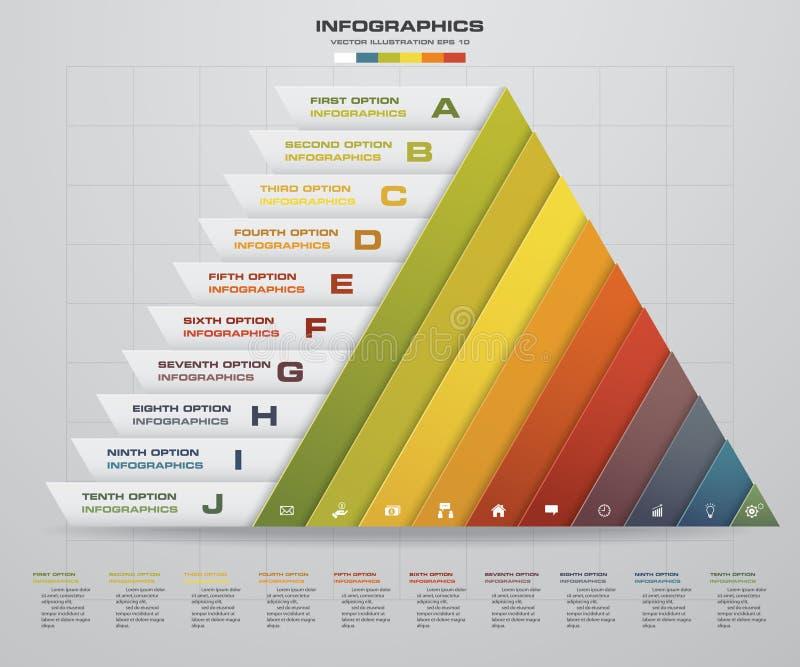 Το αφηρημένο σχεδιάγραμμα μορφής πυραμίδων με 10 βήματα καθαρίζει το πρότυπο εμβλημάτων αριθμού απεικόνιση αποθεμάτων