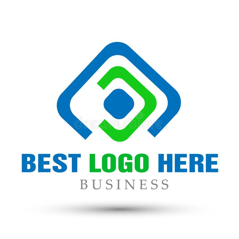 Το αφηρημένο τετραγωνικό διαμορφωμένο επιχειρησιακό λογότυπο, ένωση σε εταιρικό επενδύει το σχέδιο επιχειρησιακών λογότυπων Οικον απεικόνιση αποθεμάτων