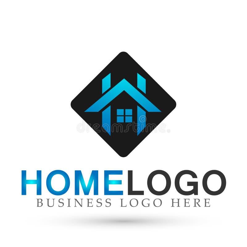 Το αφηρημένο τετραγωνικό σπιτιών στεγών και σπιτιών διάνυσμα σχεδίου εικονιδίων στοιχείων λογότυπων διανυσματικό στο μπλε χρωμάτι απεικόνιση αποθεμάτων