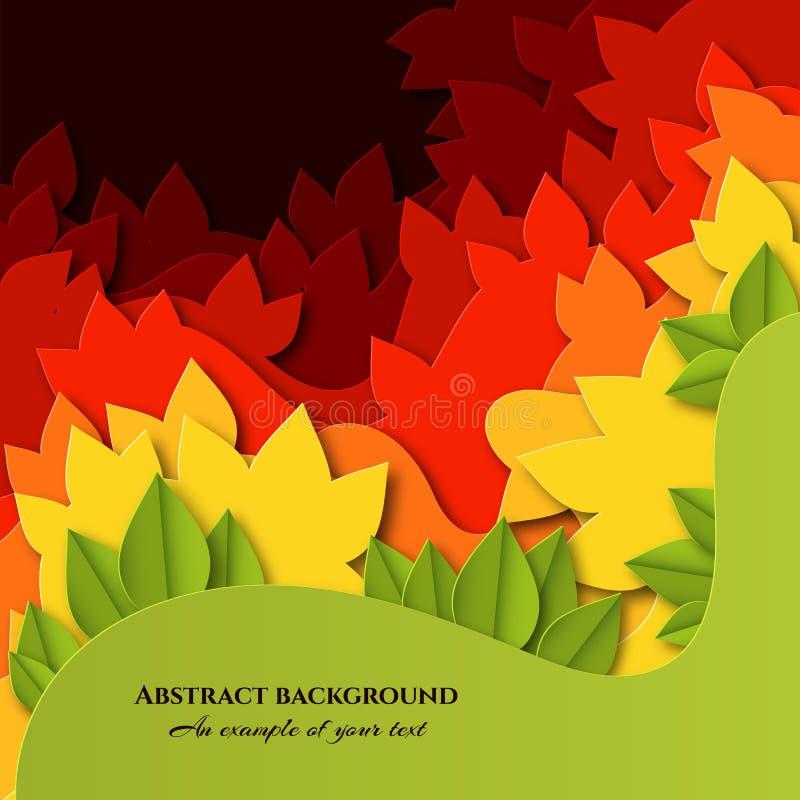 Το αφηρημένο υπόβαθρο με τα ζωηρόχρωμα φύλλα στο έγγραφο έκοψε το ύφος Βαλμένο σε στρώσεις σχέδιο φθινοπώρου για τις αφίσες, προσ ελεύθερη απεικόνιση δικαιώματος
