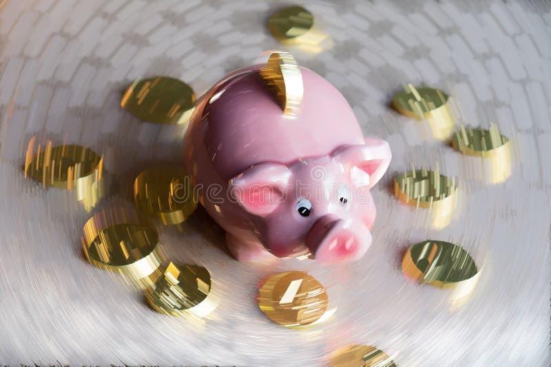 Το αφηρημένο υπόβαθρο με τη piggy τράπεζα και τα νομίσματα στη θαμπάδα κινήσεων στοκ εικόνες με δικαίωμα ελεύθερης χρήσης