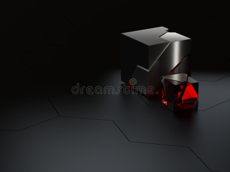 Το αφηρημένο υψηλό εξαγωνικό τεχνικού λεπτομερειών ή κυψελωτός sci-Fi υπόβαθρο με τους κύβους γυαλιού και μετάλλων τραχύτητας τρι απεικόνιση αποθεμάτων