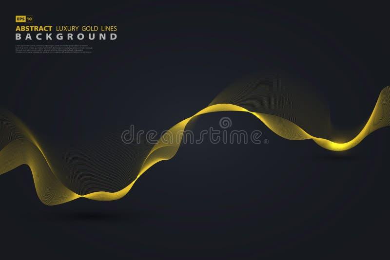 Το αφηρημένο χρυσό διάνυσμα γραμμών πολυτέλειας μίγματος με ακτινοβολεί r ελεύθερη απεικόνιση δικαιώματος