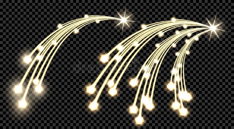 Το αφηρημένο χρυσό στοιχείο σχεδίου δύο κυμάτων με λάμπει και ελαφριά επίδραση σε ένα υπόβαθρο ελεγκτών Κομήτης με τρεις ουρές, α διανυσματική απεικόνιση