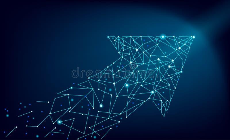 Το αφηρημένο polygonal διαστημικό χαμηλό πολυ βέλος συνδέει τη γραμμή σημείων Δομή σύνδεσης δεικτών Φουτουριστική ταχέως αναπτυσσ απεικόνιση αποθεμάτων