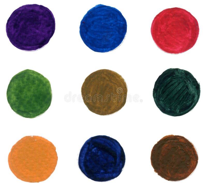 Το αφηρημένο watercolor κύκλων στο άσπρο ράντισμα χρώματος γκουας υποβάθρου στο χέρι εγγράφου σύρει απεικόνιση αποθεμάτων