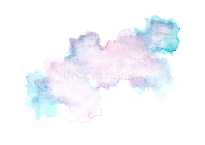 Το αφηρημένο watercolor στο άσπρο υπόβαθρο, ράντισμα Watercolor σε χαρτί, αφαιρεί τη χρωματισμένη διακόσμηση σχεδίου απεικόνισης απεικόνιση αποθεμάτων