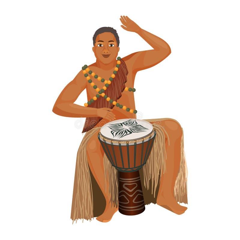 Το αφρικανικό άτομο στον εθνικό ιματισμό παίζει το ξύλινο djembe απεικόνιση αποθεμάτων