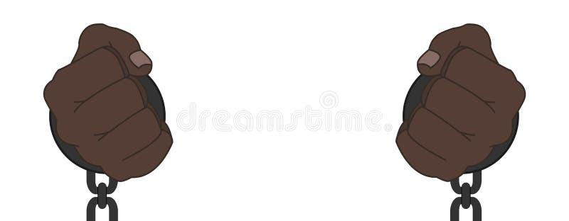 Το αφρικανικό αρσενικό παραδίδει τις χειροπέδες χάλυβα διανυσματική απεικόνιση