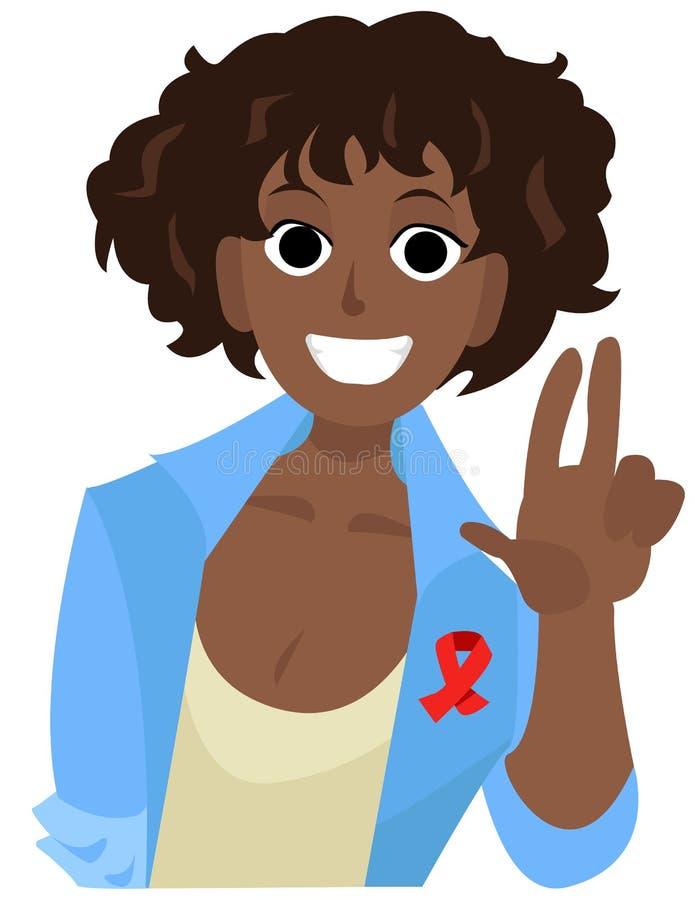 Το αφρικανικό κορίτσι ευθυμίας με την κόκκινη κορδέλλα παρουσιάζει ειρήνη Διανυσματική απεικόνιση κινούμενων σχεδίων Παγκόσμιας Η στοκ φωτογραφίες