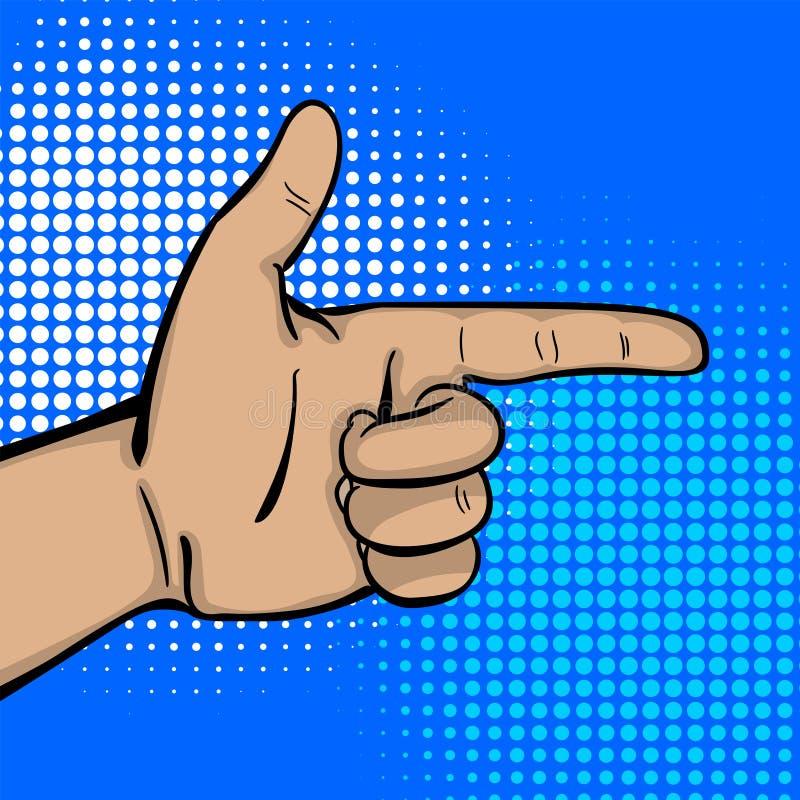 Το λαϊκό χέρι ατόμων τέχνης ισχυρό παρουσιάζει δείκτη δάχτυλων διανυσματική απεικόνιση