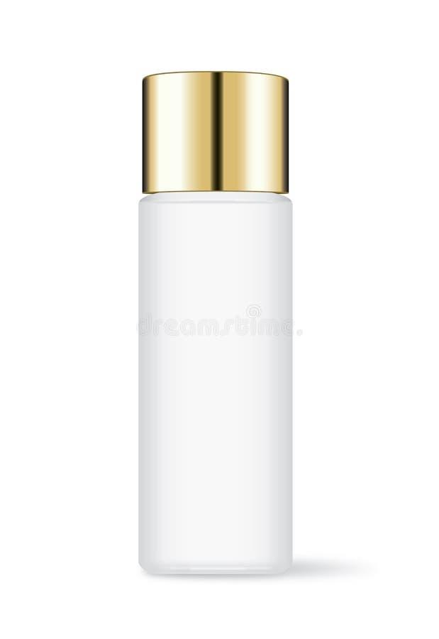 Το αλουμίνιο μπορεί να χλευάσει επάνω στο ιδανικό μεγέθους διαφοράς για τα τρόφιμα και το otherCosmetic μπουκάλι με τη χρυσή ΚΑΠ διανυσματική απεικόνιση