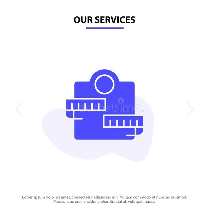 Το βάρος υπηρεσιών μας, μηχανή, υγειονομική περίθαλψη, πρότυπο καρτών Ιστού εικονιδίων αθλητικού στερεό Glyph απεικόνιση αποθεμάτων