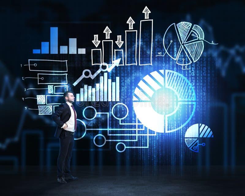 Το βέβαιο άτομο σκέφτεται για την περαιτέρω ανάπτυξη του επιχειρησιακού προγράμματος απεικόνιση αποθεμάτων