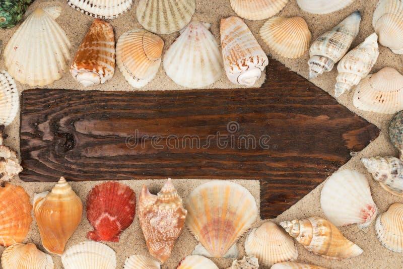 Το βέλος έκανε από έναν παλαιό ξύλινο πίνακα στην άμμο μεταξύ των θαλασσινών κοχυλιών στοκ φωτογραφία με δικαίωμα ελεύθερης χρήσης