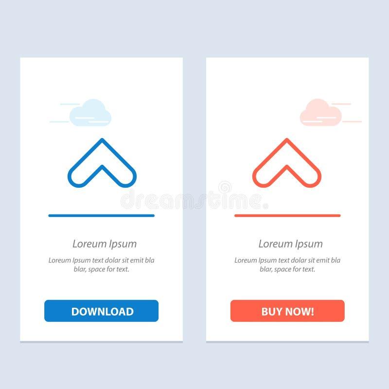 Το βέλος, βέλη, επάνω, υπογράφει το μπλε και το κόκκινο μεταφορτώνει και αγοράζει τώρα το πρότυπο καρτών Widget Ιστού απεικόνιση αποθεμάτων