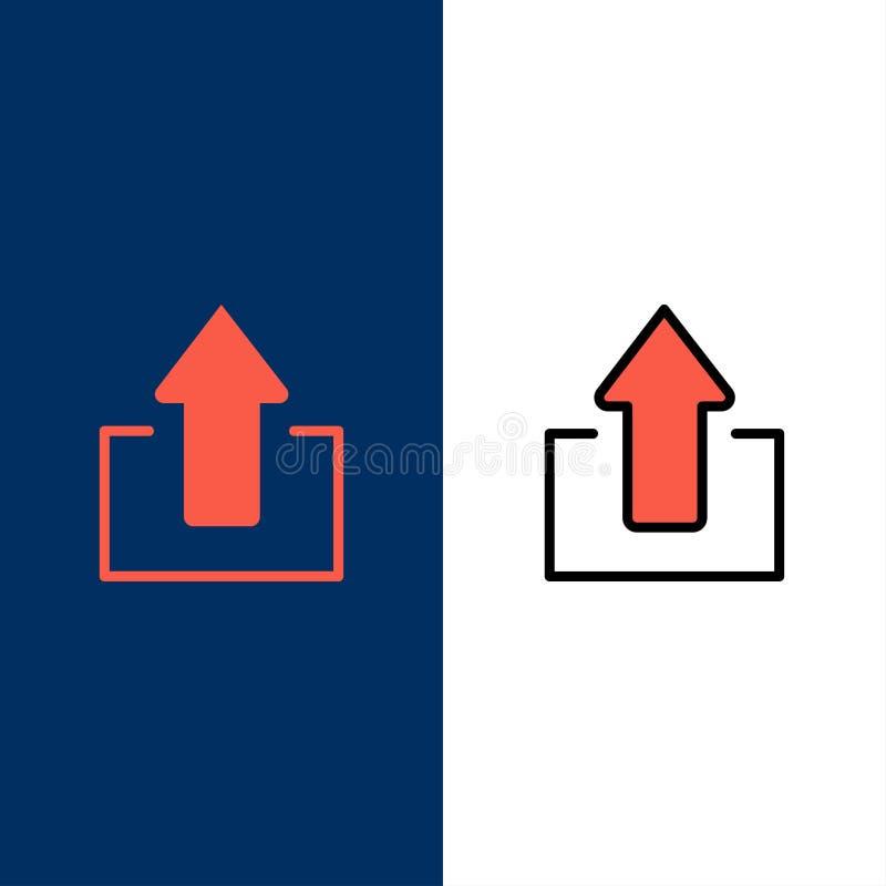 Το βέλος, βέλη, επάνω, φορτώνει τα εικονίδια Επίπεδος και γραμμή γέμισε το καθορισμένο διανυσματικό μπλε υπόβαθρο εικονιδίων διανυσματική απεικόνιση