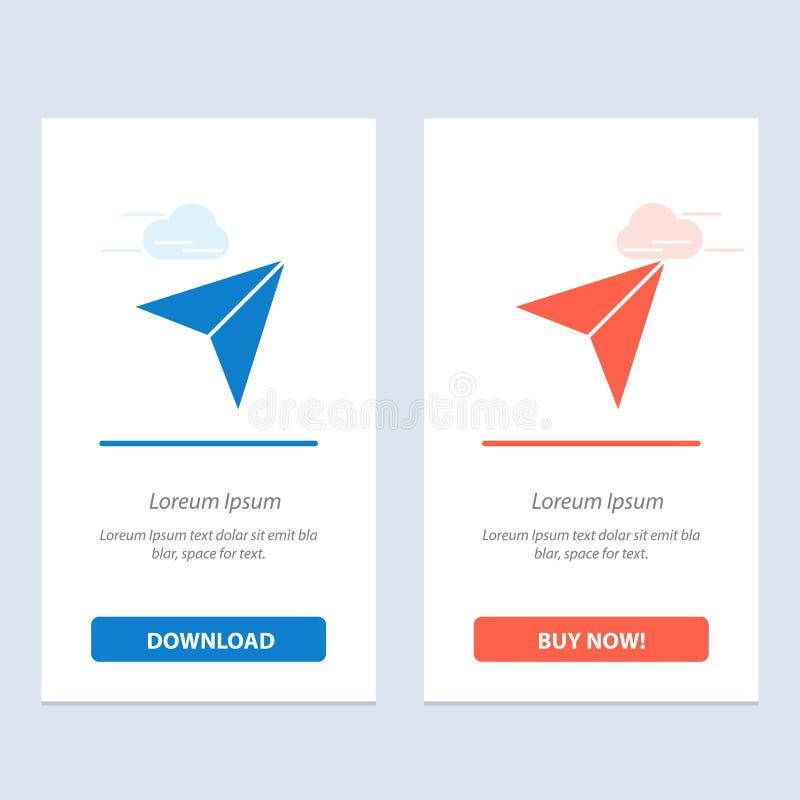 Το βέλος, δείκτης, επάνω, έπειτα μπλε και κόκκινο μεταφορτώνει και αγοράζει τώρα το πρότυπο καρτών Widget Ιστού απεικόνιση αποθεμάτων