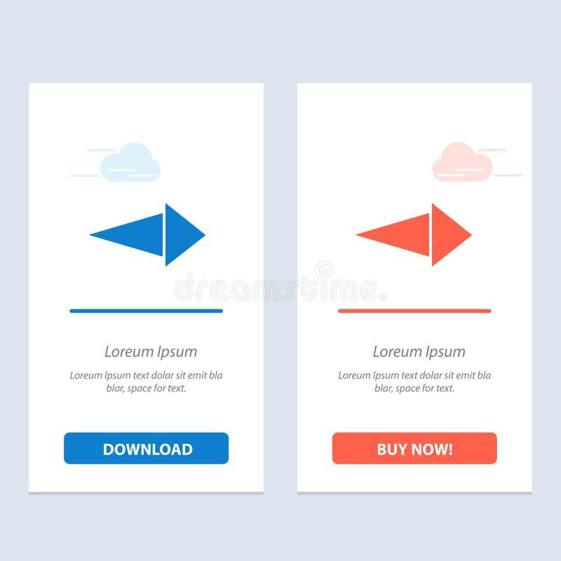 Το βέλος, δικαίωμα, έπειτα μπλε και κόκκινο μεταφορτώνει και αγοράζει τώρα το πρότυπο καρτών Widget Ιστού ελεύθερη απεικόνιση δικαιώματος