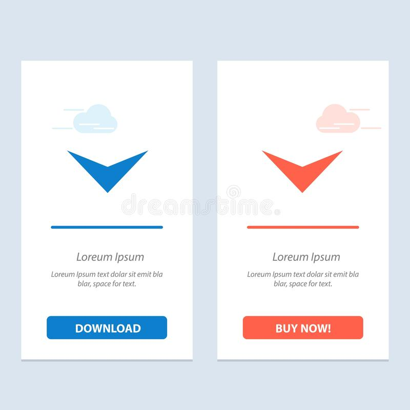 Το βέλος, κάτω από, έπειτα μπλε και κόκκινο μεταφορτώνει και αγοράζει τώρα το πρότυπο καρτών Widget Ιστού διανυσματική απεικόνιση