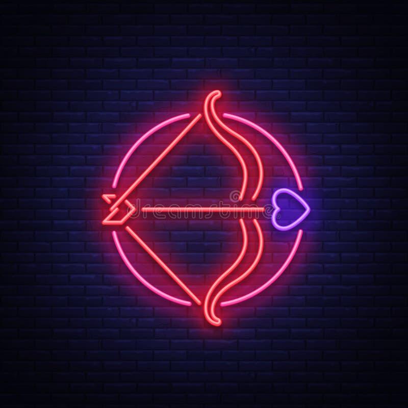 Το βέλος Cupid s είναι ένα σύμβολο της ημέρας βαλεντίνων s Σημάδι νέου, φωτεινό έμβλημα, νύχτα whiteboard Διαφήμιση για το βαλεντ απεικόνιση αποθεμάτων