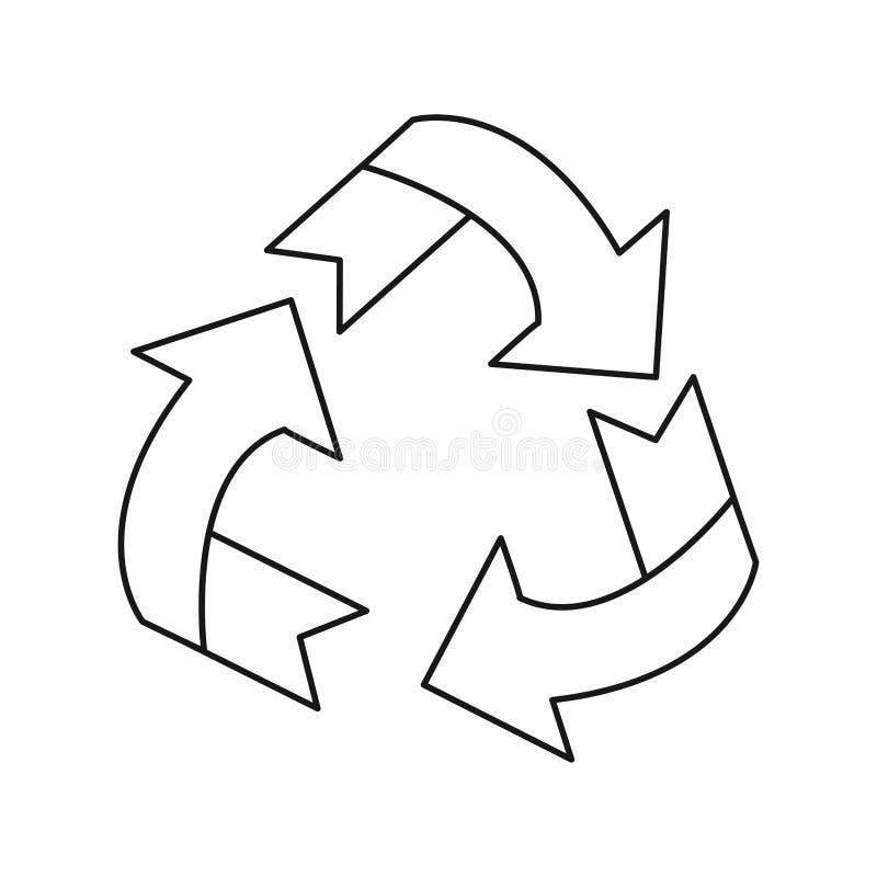 Το βέλος περιβάλλοντος γύρω από το ανακύκλωσης σύμβολο οικολογίας λεπταίνει τη γραμμή απεικόνιση αποθεμάτων