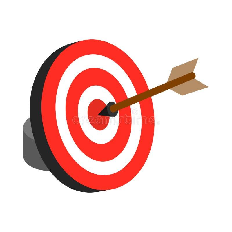 Το βέλος χτύπησε το εικονίδιο στόχων, isometric τρισδιάστατο ύφος απεικόνιση αποθεμάτων