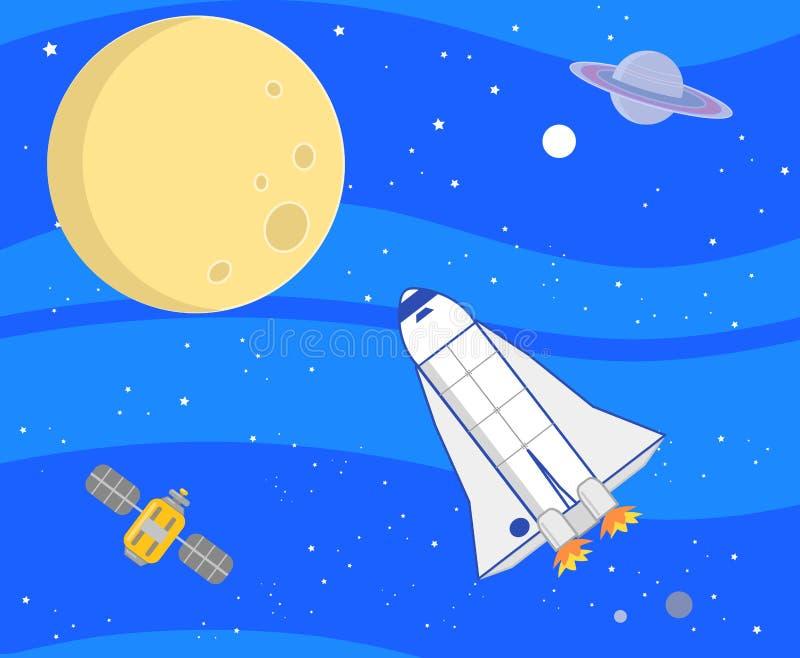 Το βαθύ διαστημικό ταξίδι στέλνει τη διανυσματική απεικόνιση απεικόνιση αποθεμάτων