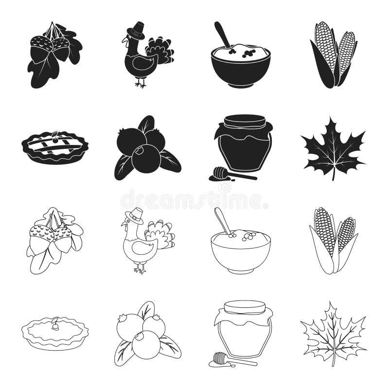 Το βακκίνιο, πίτα κολοκύθας, δοχείο μελιού, φύλλο σφενδάμου Καθορισμένα εικονίδια συλλογής ημέρας των ευχαριστιών του Καναδά στο  διανυσματική απεικόνιση