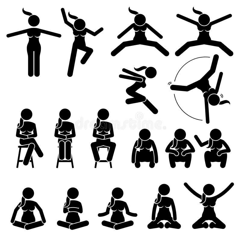 Το βασικό άλμα γυναικών και κάθεται τις ενέργειες και τις θέσεις διανυσματική απεικόνιση