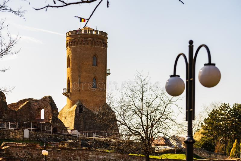 Το βασιλικοί δικαστήριο και ο πύργος Chindia σε Targoviste, Ρουμανία στοκ φωτογραφία