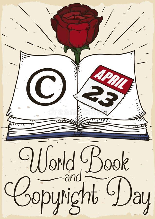 Το βιβλίο με αυξήθηκε για να γιορτάσει το παγκόσμιο βιβλίο και την ημέρα πνευματικών δικαιωμάτων, διανυσματική απεικόνιση διανυσματική απεικόνιση