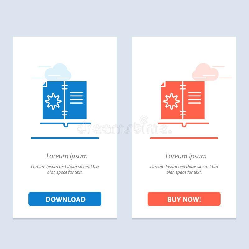 Το βιβλίο, ο οδηγός, το υλικό, η οδηγία μπλε και το κόκκινο μεταφορτώνουν και αγοράζουν τώρα το πρότυπο καρτών Widget Ιστού απεικόνιση αποθεμάτων