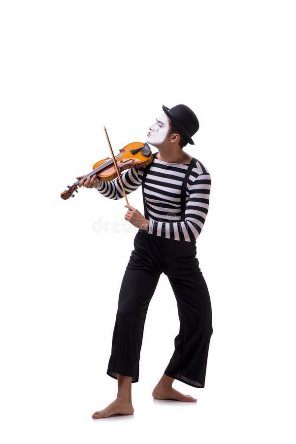 Το βιολί παιχνιδιού mime που απομονώνεται στο λευκό στοκ εικόνα